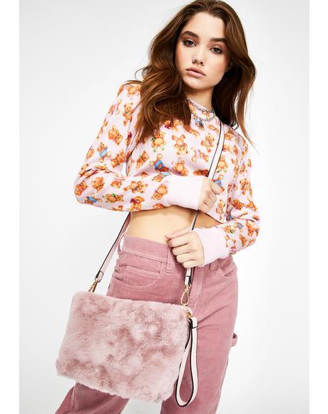 Bae Too Damn Glam Fuzzy Handbag