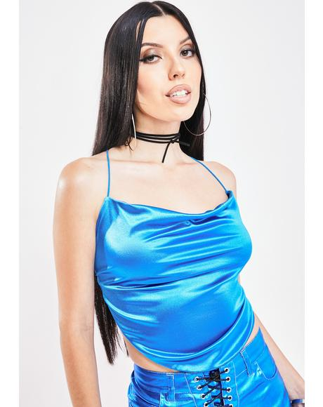 To The Top Satin Tank Top