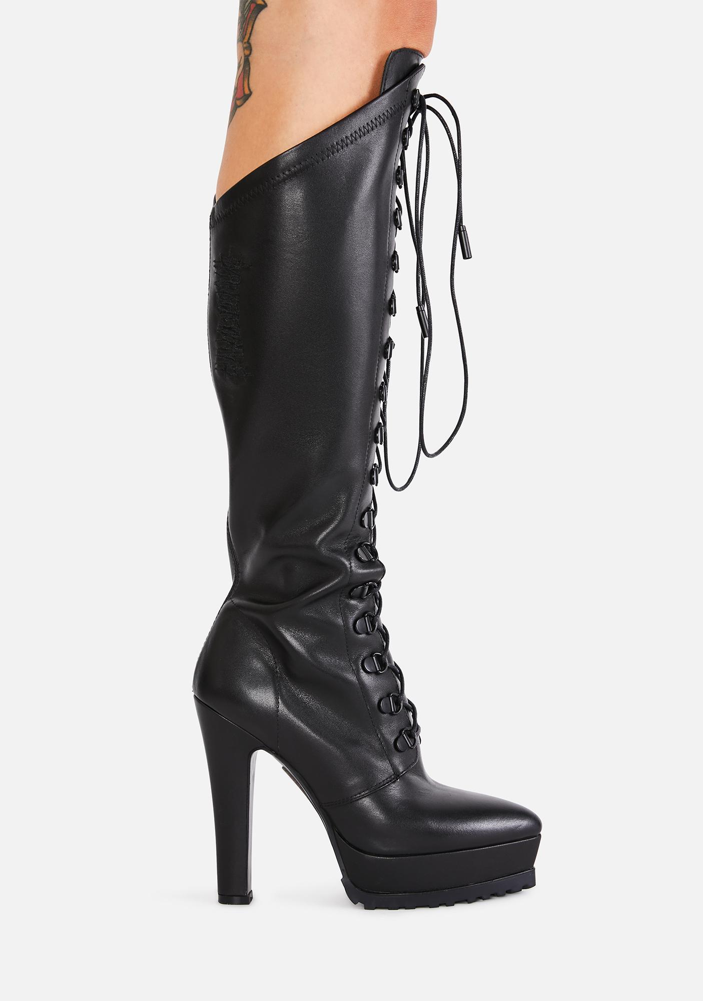 DARKER WAVS Bassline Leather Knee High Boots
