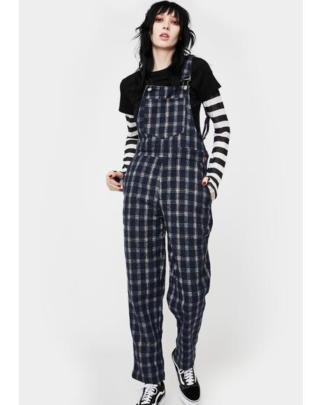 Blue Plaid Overalls
