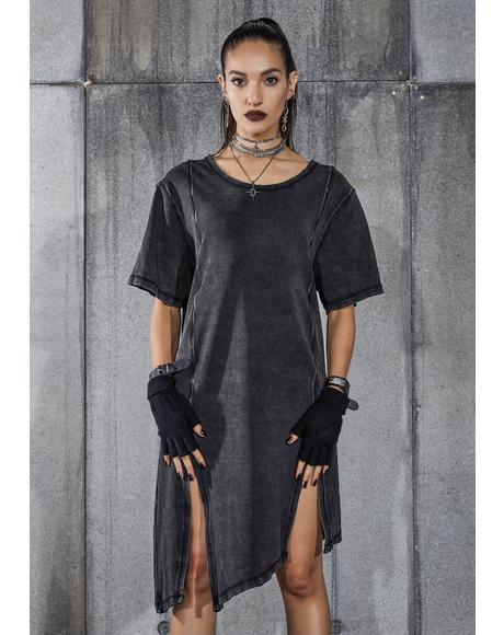 Snare Washed Black Double Slit Longline T-Shirt