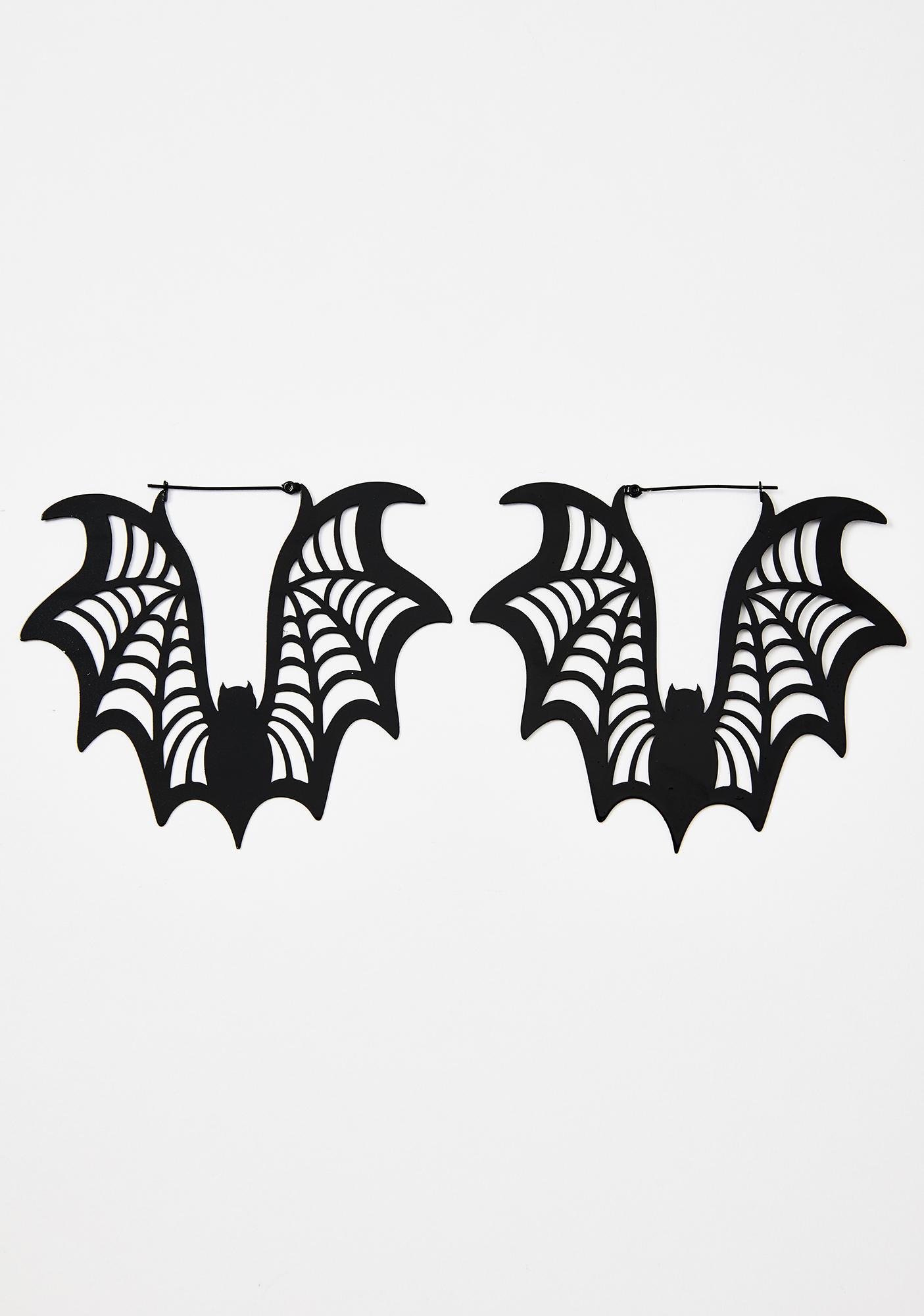 Too Fast Bat Web Hoop Earrings