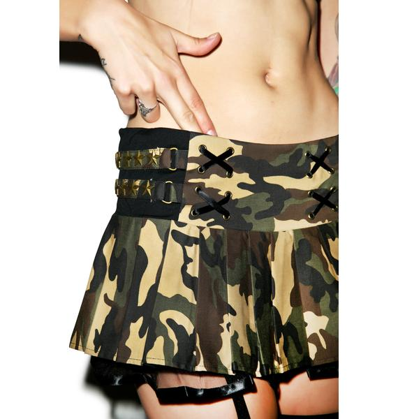 Army Brat Studded Skirt