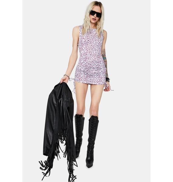 Lavender Wild Life Ruched Leopard Print Dress