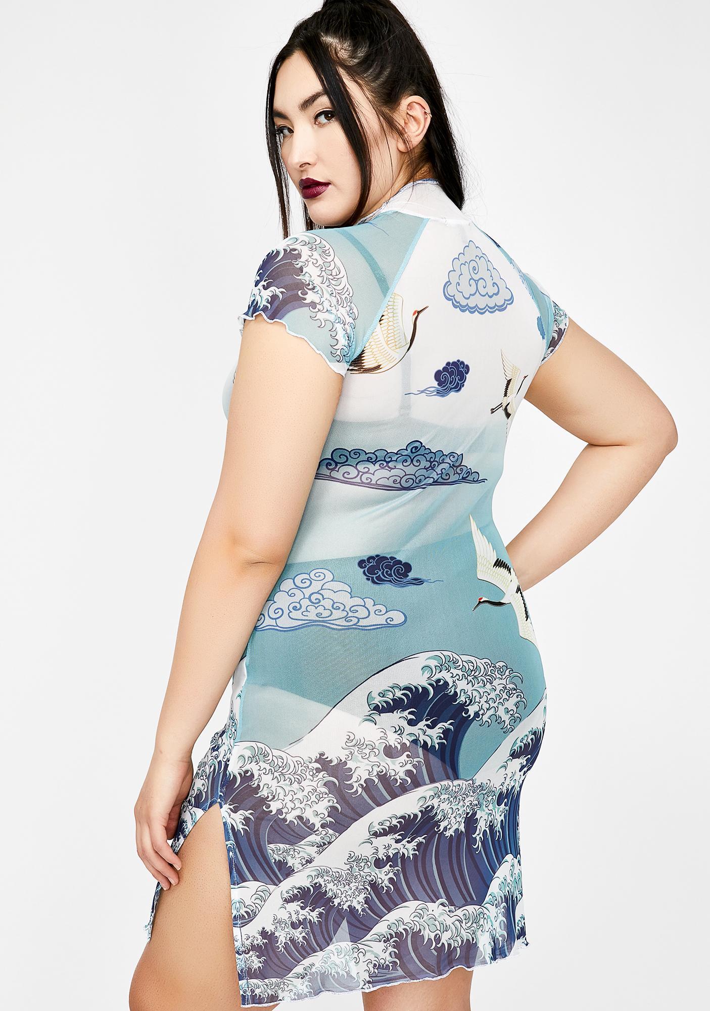 Current Mood Crashin' Tidal Wave Mesh Dress