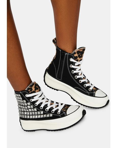 Shaft Studded Platform Sneakers