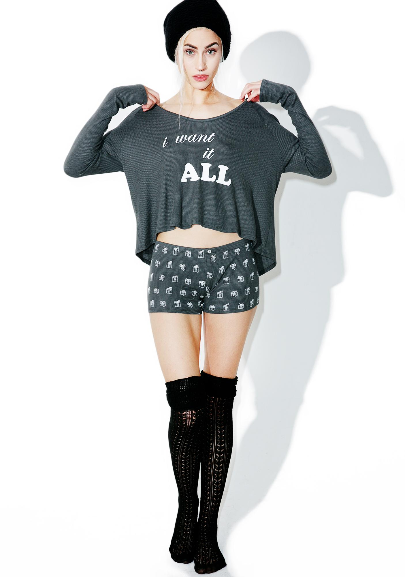 Wildfox Couture I Want It All Raglan/Short Sleep Set