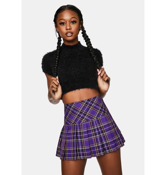 Tripp NYC Woven Purple Plaid Pleated Mini Skirt