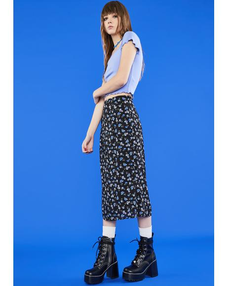 Gimme The 411 Midi Skirt