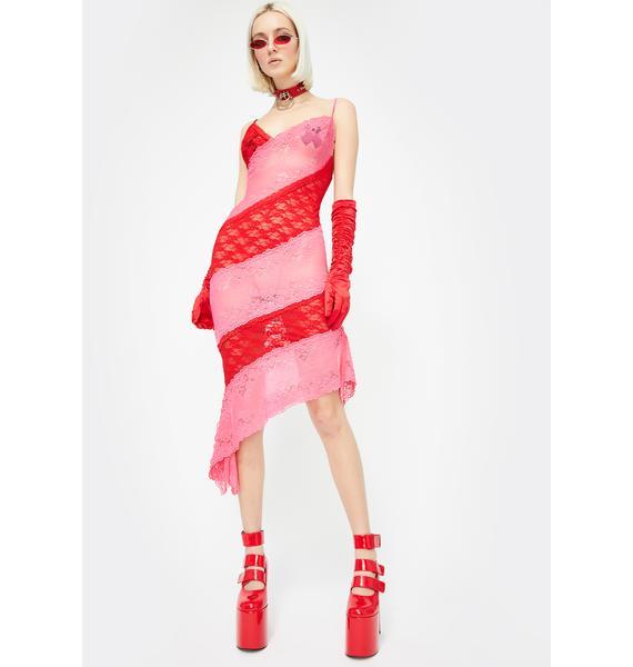 No Dress Red Patchwork Lace Slip Dress