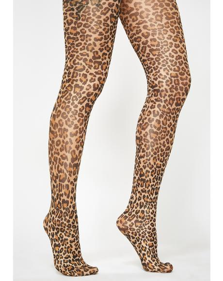 Beige Hey Kitty Gurl Leopard Tights