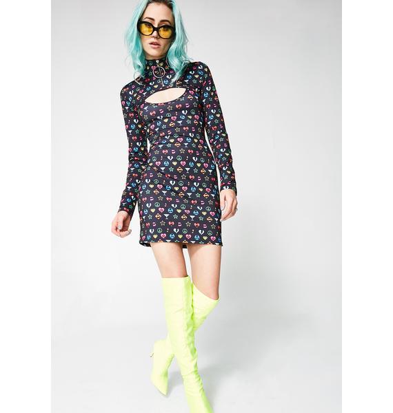 Jaded London Symbol Print Overlay Mini Dress