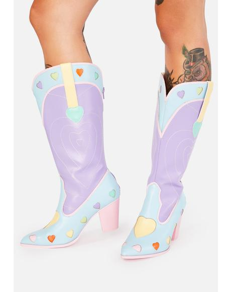 Pastel Heart Space Cowgirl Boots