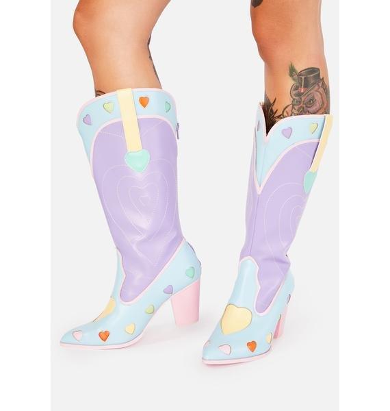 Y.R.U. Pastel Heart Space Cowgirl Boots