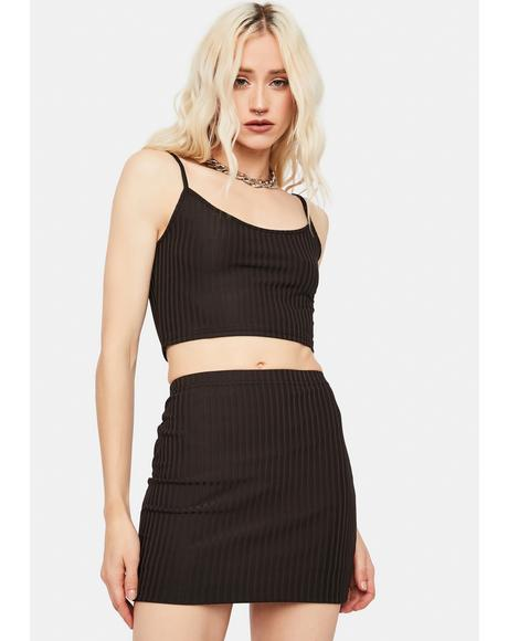 Blame Game Ribbed Skirt Set