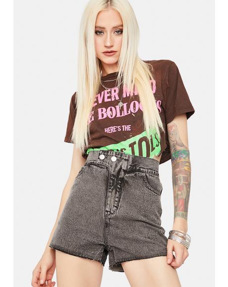 Hope You Shine Acid Wash Denim Shorts