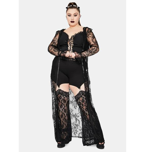 Widow Studying Demonology Lace Bell Sleeve Duster