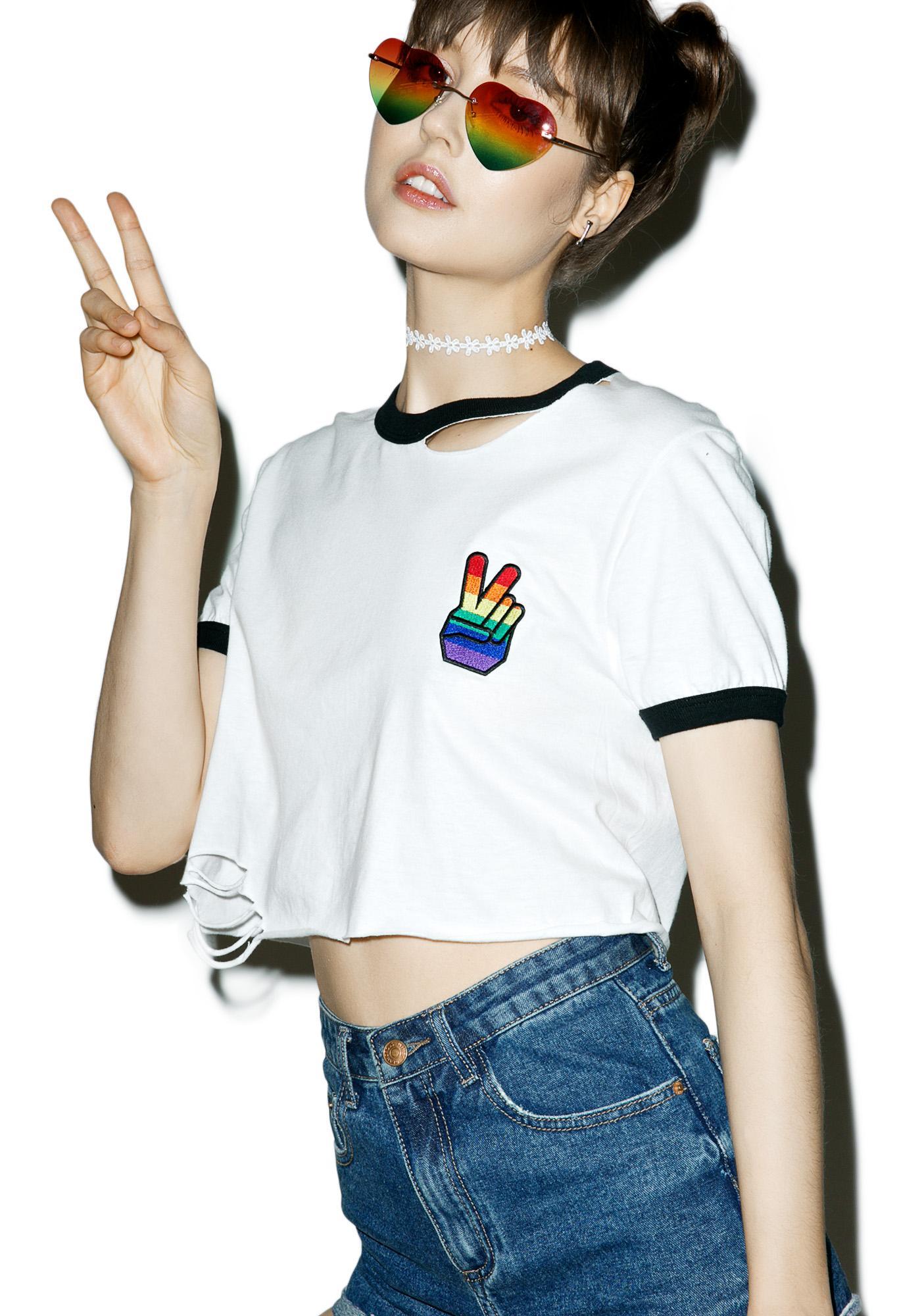 Rag Doll Rainbow Peace Ringer Tee