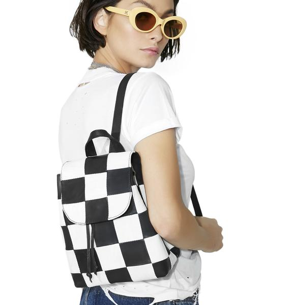 American Vintage Checkered Leather Backpack