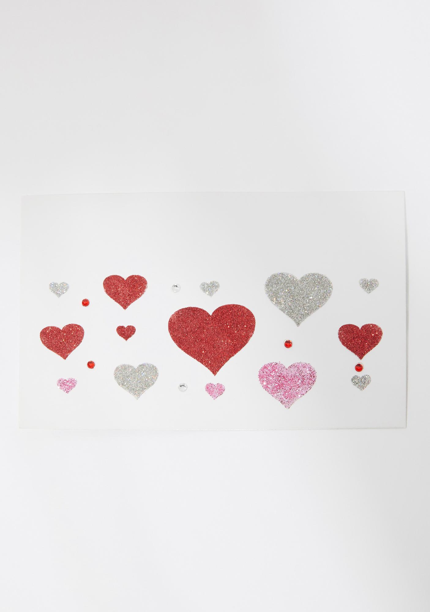 Sugar Baby Glitter Heart Face Stickers