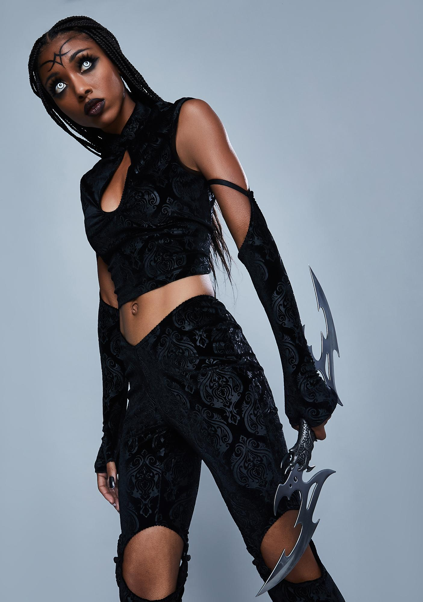 Widow Too Far Gone Velvet Crop Top