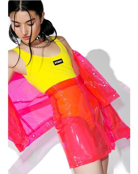 Crystalline Pink Transparent High Waisted Skirt