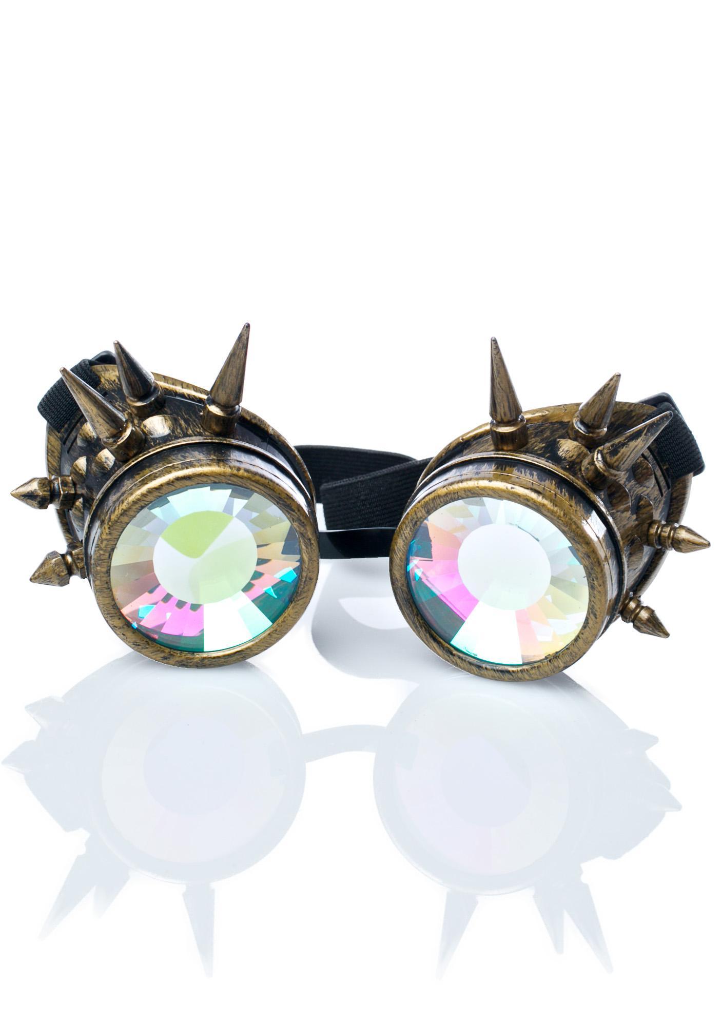 GloFX Brass Spike Kaleidoscope Goggles