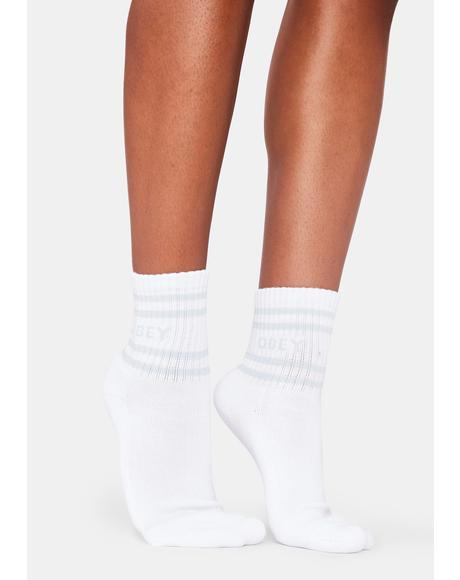 Coop White And Blue Ankle Socks