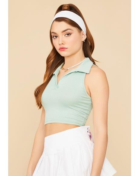 Sage Designer Sass Crop Polo Top
