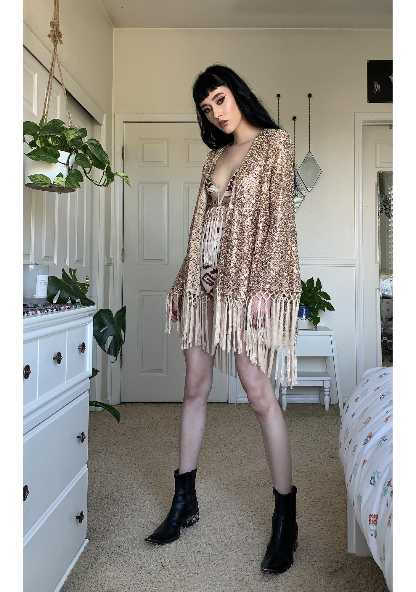 EastnWest Nude Knit Sequin Cruise Kimono Jacket