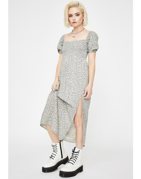 Leopard Daze Grey Eloya Midi Dress