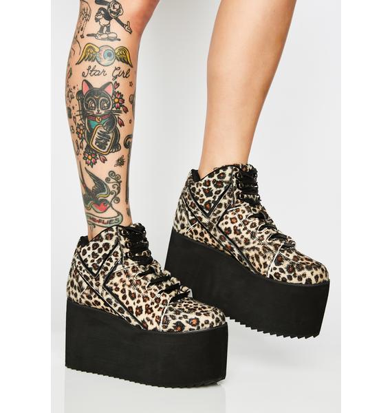 Y.R.U. Qozmo Leopard Platform Sneakers