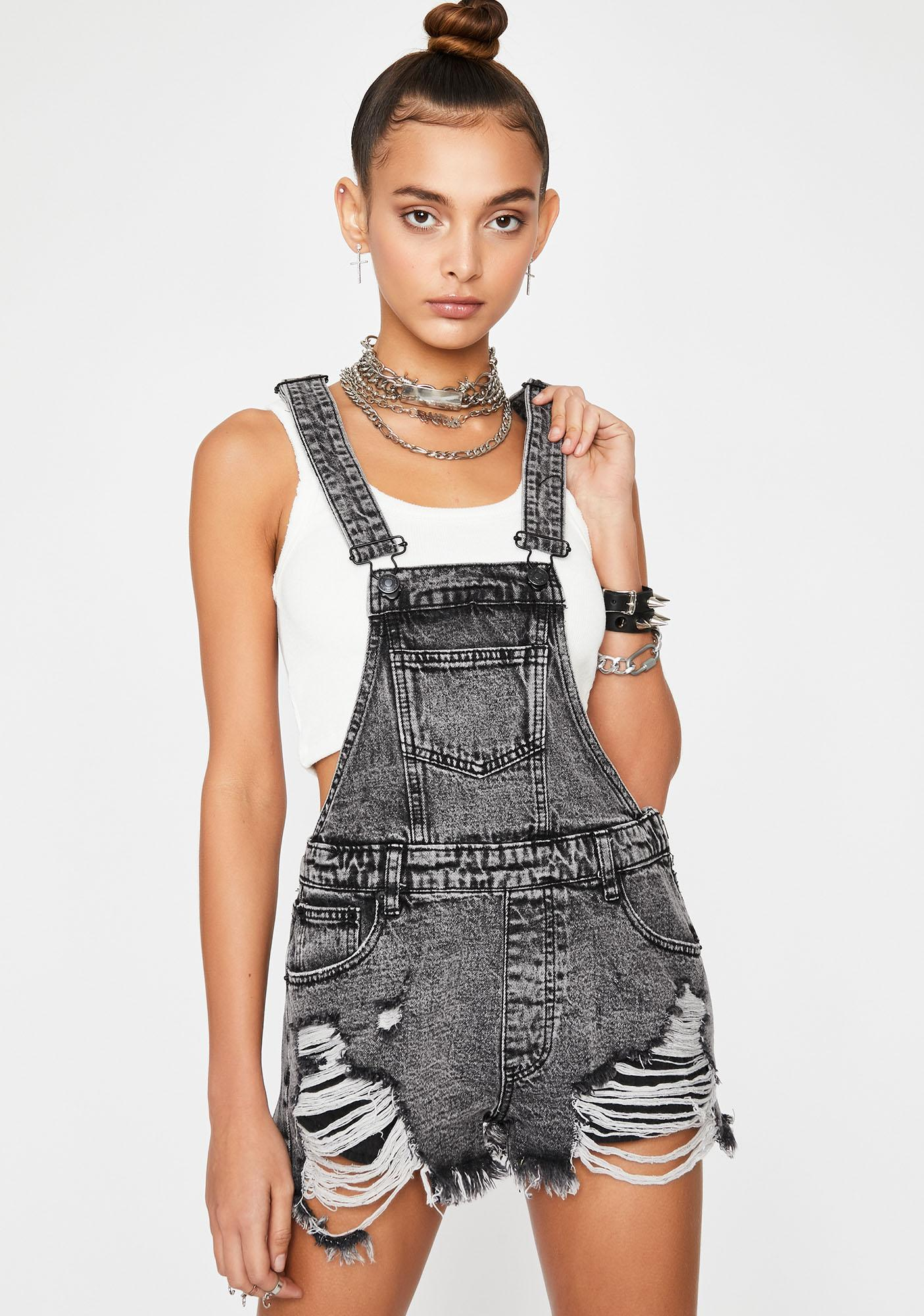 Washed Out Denim Overalls