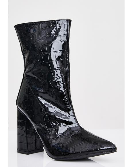 Wicked Dangerous Love Croc Booties