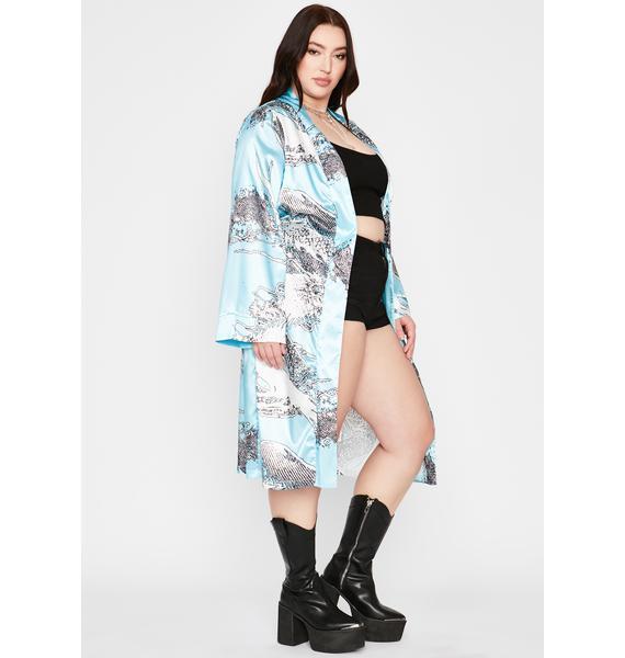 Aqua Miss Never Play Nice Printed Kimono