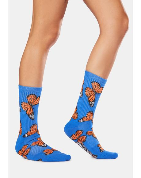 Blue Butterflying Socks