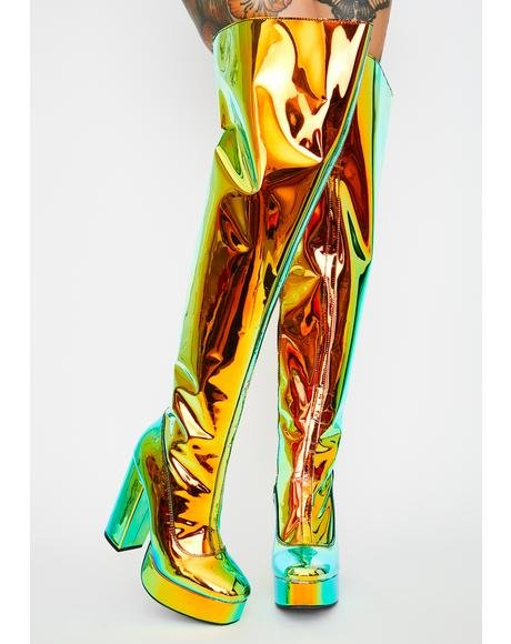 Amber Prismatic Galactic Thigh Highs