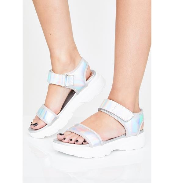 Icy Nebula Holographic Sandals