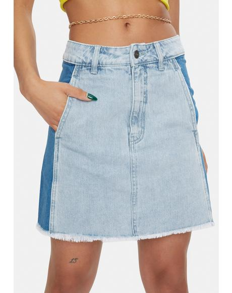 Stevie Hemp Denim Panelled Skirt