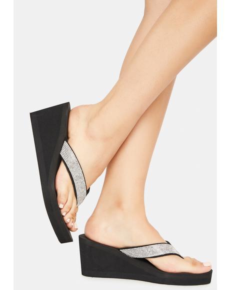 Noir Hello Hello Wedge Thong Sandals