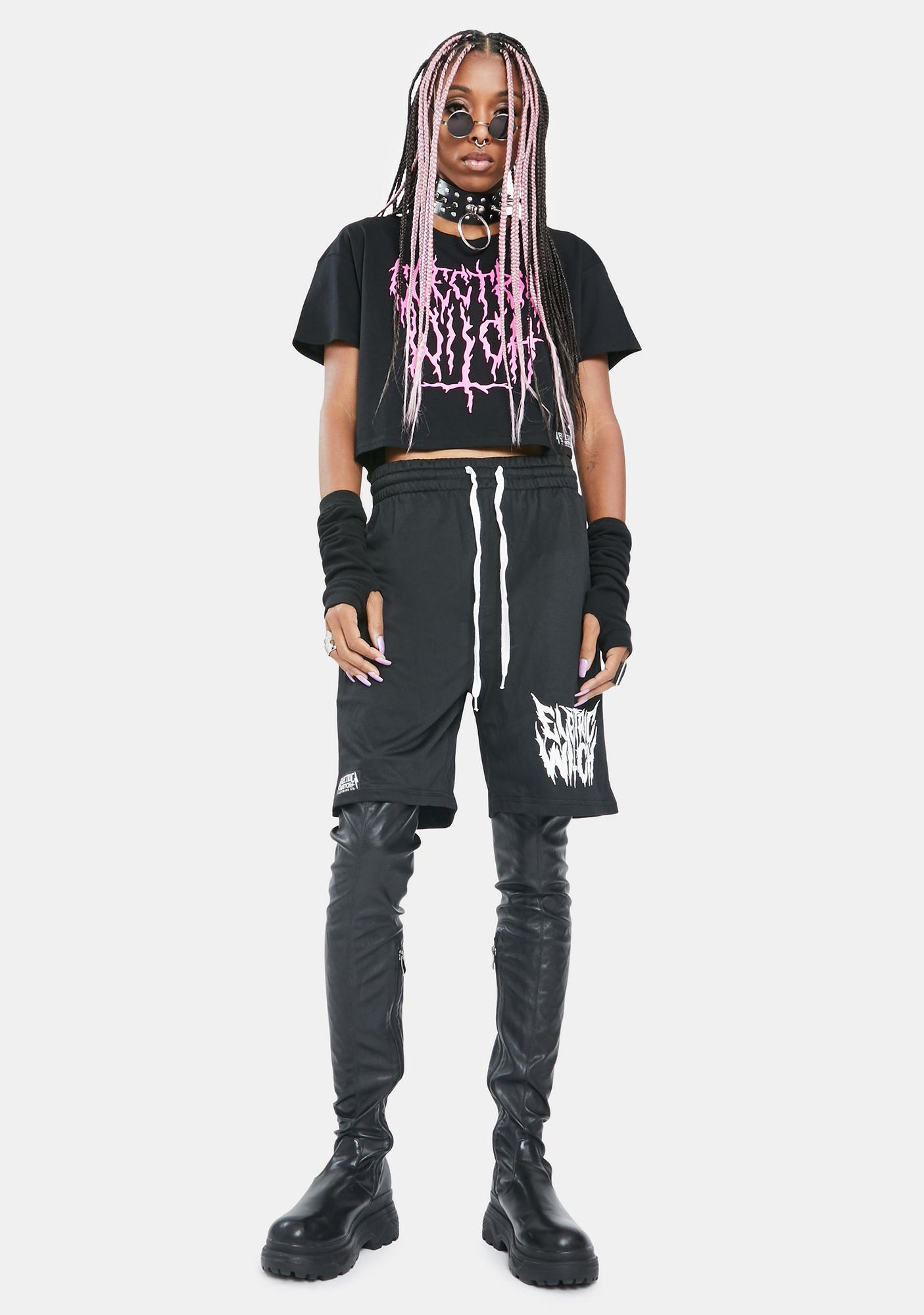 Electric Witch Metal Graphic Crop Top