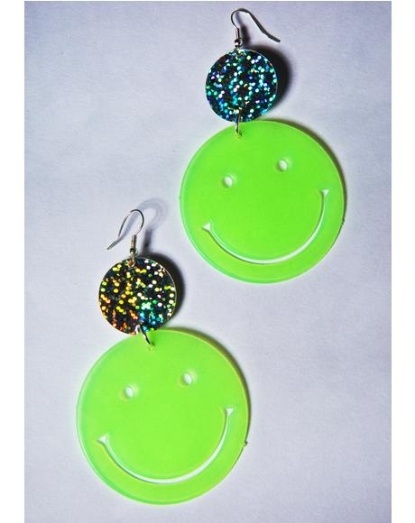 Smiley Face Glow Earrings