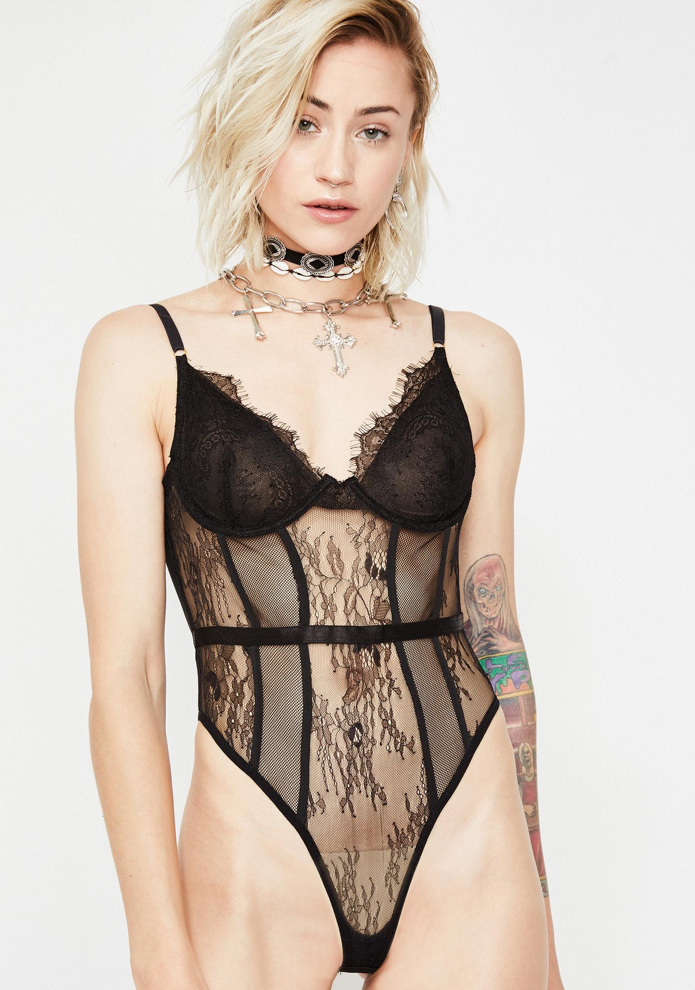 b5b68f8a350b8 Black Underwire Lace Sheer Bodysuit | Dolls Kill