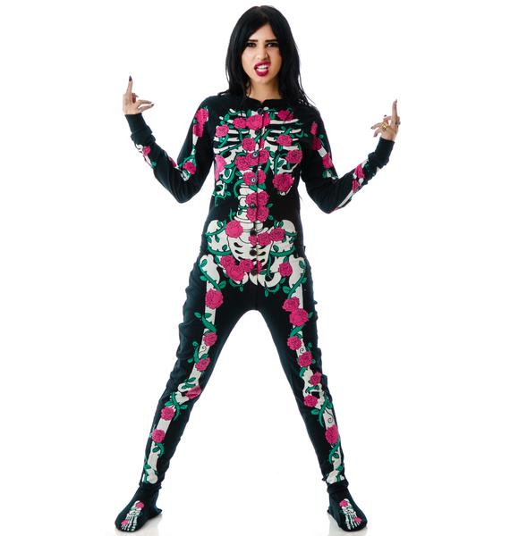 Too Fast Rose Vine Skeleton Skelly Footed Pajamas
