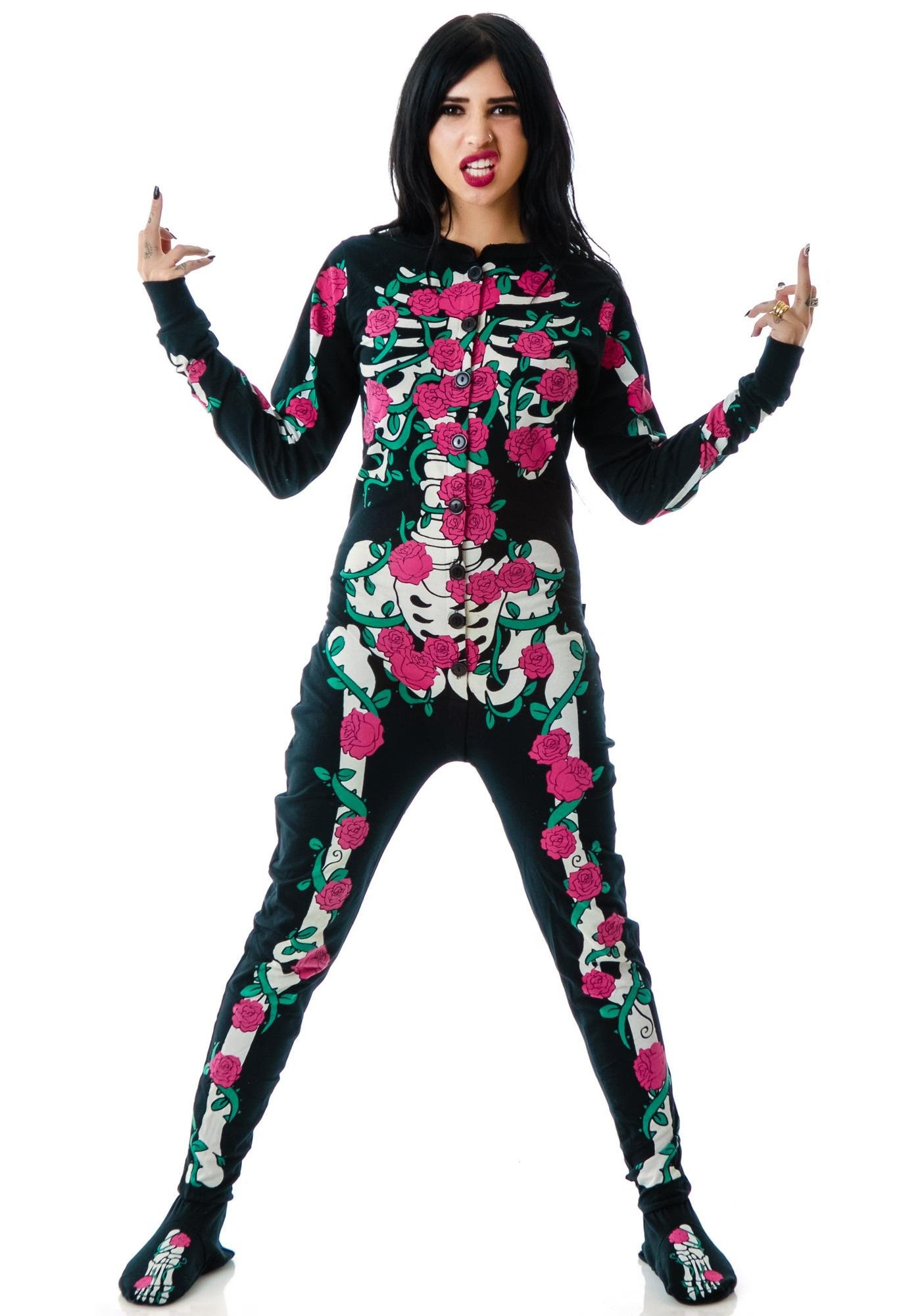 Too Fast Rose Vine Skeleton Skelly Footed Pajamas | Dolls Kill