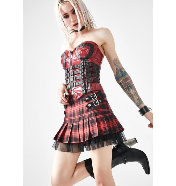 Punk Rave Red Plaid Pleated Skirt
