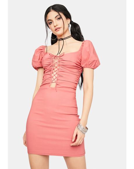 Cherry Seeking Answers Lace Up Mini Dress