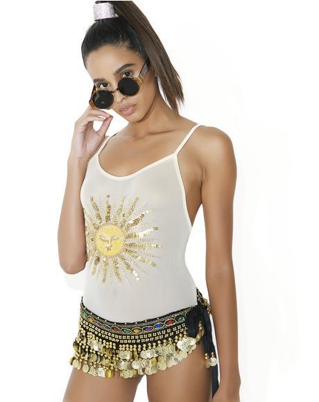 Marlo Sheer Sequin Celestial Sun Bodysuit