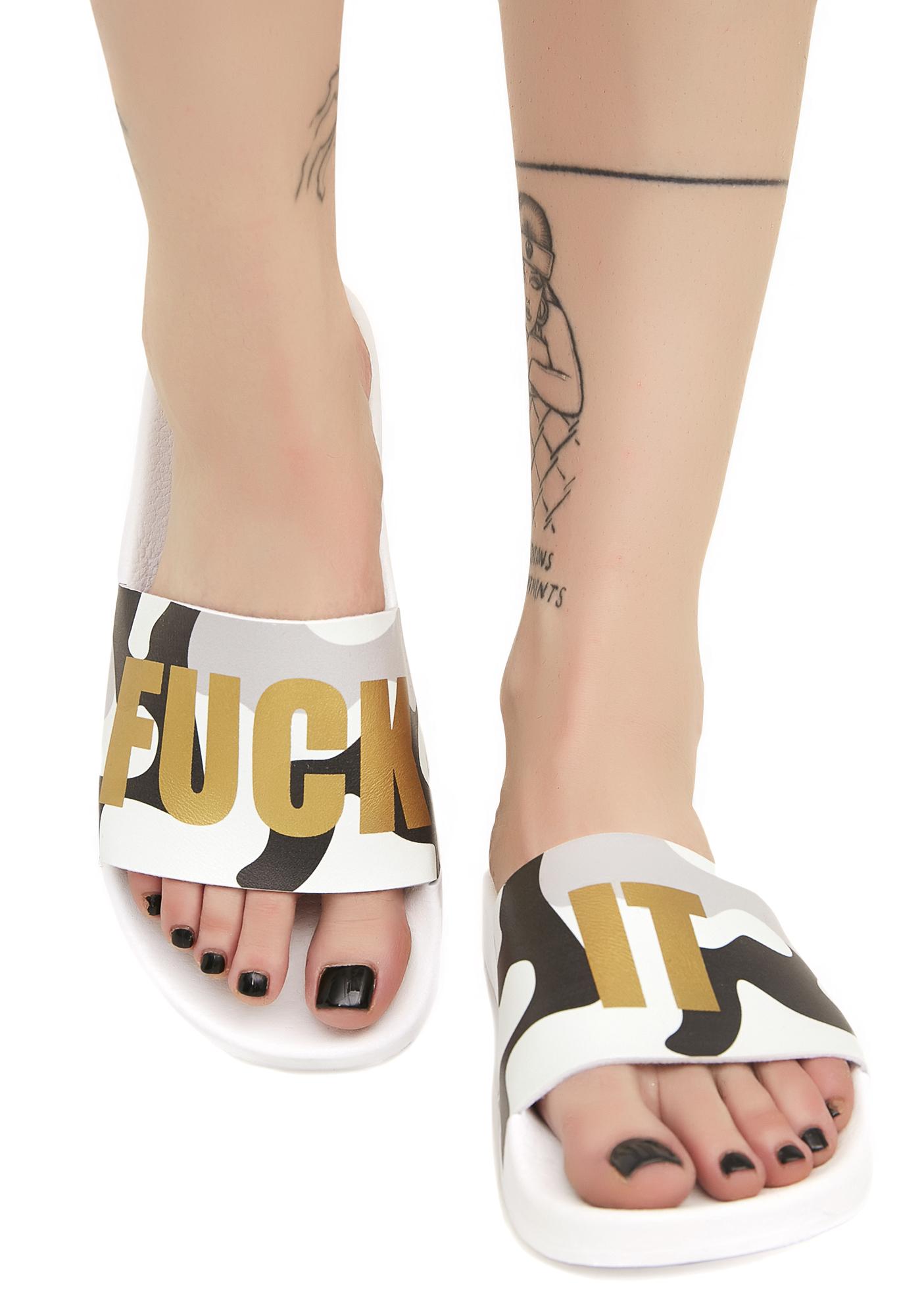 The White Brand Fuck It Camo Slides