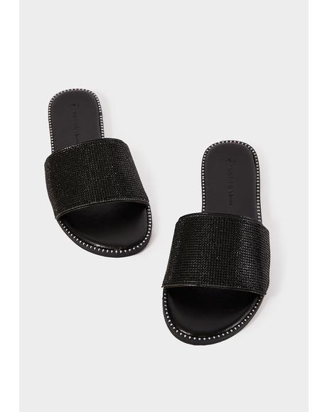 Black Moving On Embellished Slides